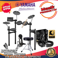 Yamaha drum elektrik DTX 432K + ISK dolphin headphone + Drum Throne