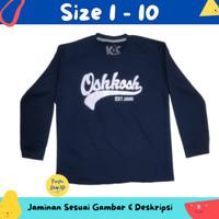 Baju Anak Laki-laki / Kaos Lengan Panjang Oshkosh Biru Tua 1-10 Thn