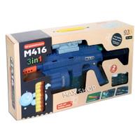 Mainan Edukasi Anak Pistol M416 3in1 Tembakan Soft Bullet Gun Bubble