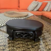 Dudukan guci tatakan kayu keramik meja kecil pajangan guci/pot oval
