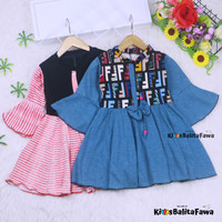 Dress Sissy 5-6 Tahun / Dres Anak Lengan Panjang 3/4 Baju Perempuan