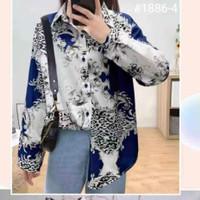Kemeja Wanita Silk Import - Biru