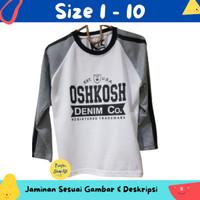 Baju Anak Laki-laki / Kaos Lengan Panjang Oshkosh White Grey 1-10 Thn