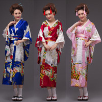 KIMO baju tradisional jepang kimono high quality satin cosplay yukata