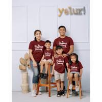 Kaos Baju atasan Couple sarimbit keluarga Happines merah bata yeluzi