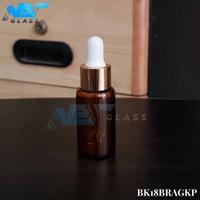 botol kaca pipet 18 ml/ botol serum 18ml amber - ring almunium gold - Putih