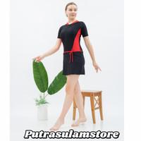 Baju Renang Wanita Dewasa Cewek Diving Rok Pendek Polos Biasa + CupBra - Merah, M