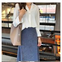 Baju atasan wanita fashion blouse korea cantik -Pin Top- - Putih, XL