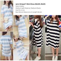 HQ30117 Striped T-Shirt Dress Import Baju Wanita Katun Garis Korea Pop