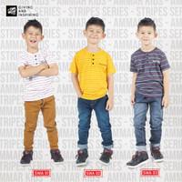 AmmarKids Kaos Baju Anak Laki Laki Remaja Stripe Series Usia 3-12 Thn - SWA01, S