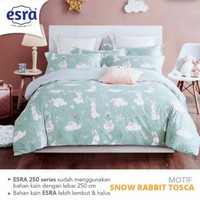 Set Bedcover Sprei Katun motif Snow rabbit Ukuran 180x200 160x200