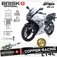 Busi Motor BRISK Copper racing Tipe - L14C Ninja 150CC
