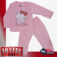 Setelan Panjang Baju / Kaos Anak Perempuan LOVE CAT 1 - 10 Tahun