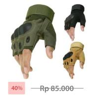 Sarung Tangan Tactical motor sepeda touring airsoft outdoor army half - Hitam