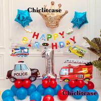 Set paket balon birthday mobil cars cowo dekorasi pesta ulang tahun