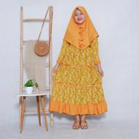 Gamis Anak Perempuan Syari Kuning Motif Bunga Kecil
