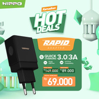 Hippo Rapid Adaptor Charger Quick Charge 3.0 Fast Charging 18W - Hitam, Adaptor Only