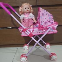 mainan stoller boneka / stoller bayi bahan besi dan boneka