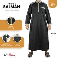 Gamis pria Jubah Thobe Salman lengan panjang - Hitam, M