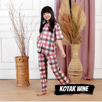 Piyama Anak Cowok Baju Tidur Premium Kotak Wine Usia 1-9 Tahun