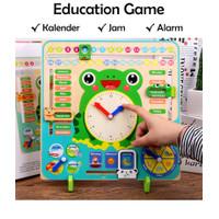 Mainan Kayu Edukasi Anak Puzzle Belajar Kalender Jam Wooden Toy