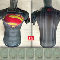 Tshirt UNDERARMOUR Baju Kaos SuperHero Black Superman Series Body Fit