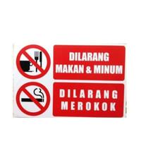 stiker dilarang makan dan minum / dilarang merokok sticker - Merah