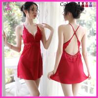 LINGERIE SEXY BAJU TIDUR WANITA DEWASA SEKSI ROK DRESS SILANG FN-15 - Merah