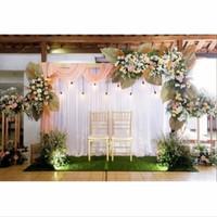 Dekorasi backdrop pernikahan rustic 3.3meter nuansa peach