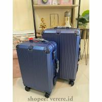 Koper cabin 20inch dan Koper bagasi 24inch Polo classic Tsa Lock - Blue, 20inch