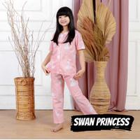 Baju Tidur Anak Perempuan Cewek Piyama Katun Swan Princess 1-9 Tahun
