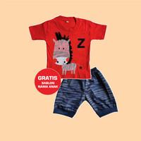 Baju Bayi Setelan Motif Zebra 0-12 Bulan Setelan Gratis Sablon Nama - 0-3 Bulan