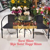 Kursi dan Meja Teras Taman 1 Set Bahan Besi & Rotan (HARGA KIRIM)