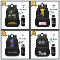 Tas Anak Laki Laki Ransel Sekolah SD SMP Backpack Superhero Plus Botol