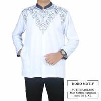Baju Koko pria lengan panjang putih motif premium-putih,M