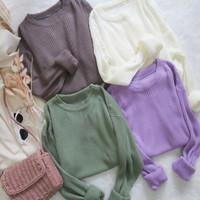 PROMO Baju Sweater Clarissa Top Knit RIB Lengan Panjang Wanita Murah