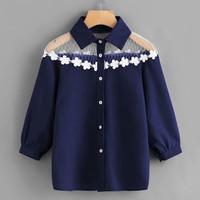Fashion Baju Atasan Top Blouse Blus Wanita Korea Style Kekinian - Navy, L