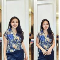 Baju Blouse Lengan Pendek Motif Bunga Chiffon Import/Bc6344 Floral Top