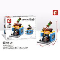 Mainan Edukasi Anak Lego Brick Sembo Block BBQ Sosis Shop SD6032