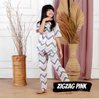 Baju Tidur Anak Perempuan Piyama Anak Katun Cowok Cewek Zig Zag Pink