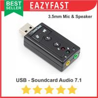 USB Soundcard 7.1 Adapter 3.5mm Audio Speaker Microphone Laptop PC
