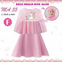 (8-13y) Gamis anak Dress Muslim anak Baju Muslim Anak Unicorn Pink MA