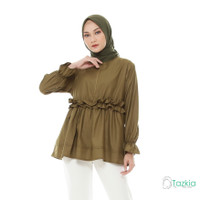 Atasan Muslim Wanita | Kanza Blouse Olive | M L XL | Katun Toyobo
