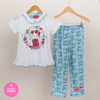 Baju Tidur Anak Perempuan/ Piyama Anak Cewek Motif Hello Kitty Pdk Pjg