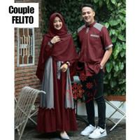 Baju Couple Muslim Pasangan Kemeja Setelan Gamis Syari Busui Kerudung