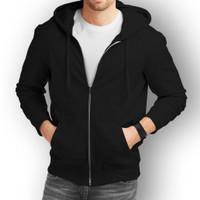 Jaket Sweater Hoodie Zipper Polos Unisex Size M L XL Black - Hitam, M
