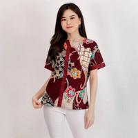 Blouse batik BA292G lengan pendek / Baju atasan wanita batik modern