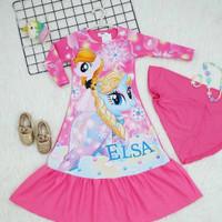 gamis unicorn anak perempuan size 3th-10th/ baju muslim + jilbab anak