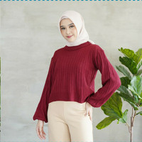 Cloud Knit top baloon long sleeve - Atasan blouse wanita rajut - Maroon