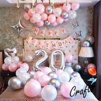 [PAKET] BIRTHDAY Set STAR SILVER PINK BANNER Dekorasi Backdrop Ultah